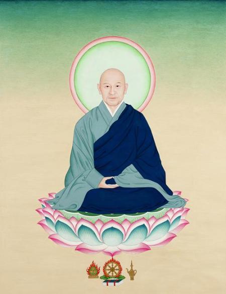 """Suzuki Roshi, Ground Pigement, 22""""x26"""", 2005"""